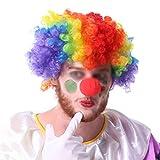THEE Peluca y Nariz de Payaso de Halloween Clown Cosplay Accessory