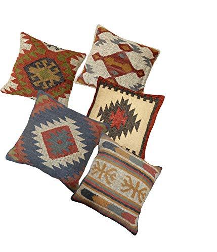 Handicraft Bazarr - Juego de 5 fundas de cojín hindú tejidas a mano Kilim de yute, decoración étnica hecha a mano, funda de cojín decorativa para sala de estar, funda de cojín Kilim