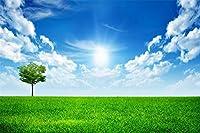 草の緑の風景空の太陽の木-大人のためのジグソーパズル500ピースのDiyパズルの子供の木製おもちゃ