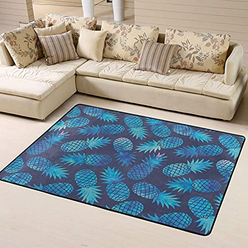 Alfombra de Dormitorio Blue Pineapple Non Slip Area Rugs 63 X 48 Inch, Carpet for Home Dining Room Playroom Living Room Large Floor Rug Floor Mat