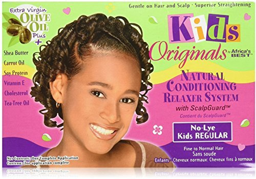 Africa's Best Kids Organics No-Lye Organic Conditioning Relaxer System with Scalp Guard for Fine to Normal Hair, Kids Regular by HC Industries