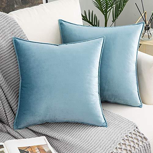 Woaboy - Juego de 2 fundas de almohada decorativas de terciopelo suave y macizo, cuadradas, fundas de cojín de estilo moderno, fundas...