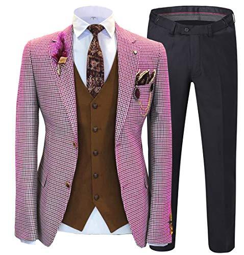 Solove-Suit Abito da Uomo 3 Pezzi Plaid vestibilità Slim Abito Completo Uomo per Il Matrimonio(Giacca+Gilet+Pantaloni(Fucsia,44)