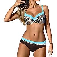 OHQ Traje De BañO para Mujeres Traje De BañO De Bikini con Estampado De Mujer Sujetador Acolchado para Mujer Bikini Set Traje De BañO Moda De Verano (2XL, Azul)