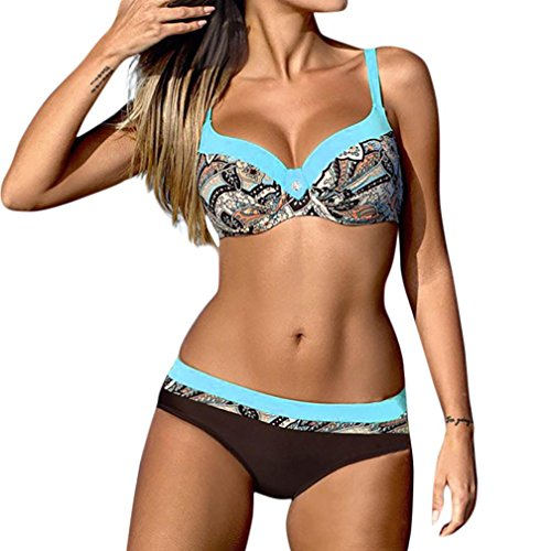 OHQ Traje De BañO para Mujeres Traje De BañO De Bikini con Estampado De Mujer Sujetador Acolchado para Mujer Bikini Set Traje De BañO Moda De Verano