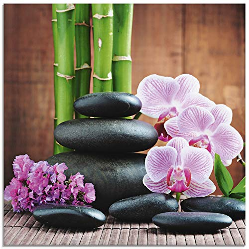 Artland Glasbilder Wandbild Glas Bild einteilig 30x30 cm Quadratisch Natur Asien Wellness Zen Steine Blumen Blüten Orchideen Bambus Pink T5OO