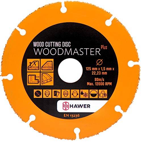 Tech-Parts Woodmaster Plus - Disco de corte para madera para amoladora angular (125 mm)