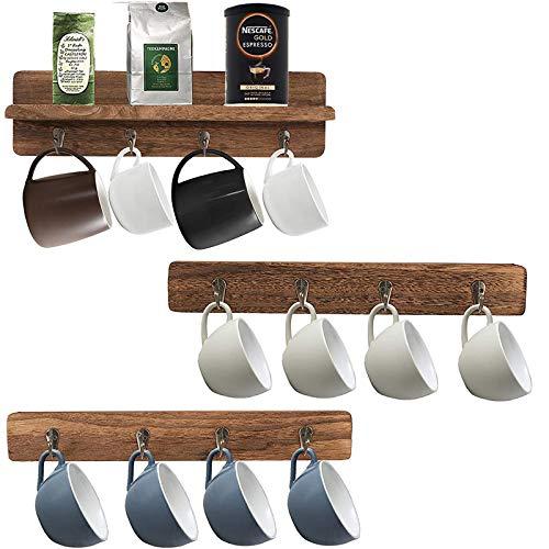 YCOCO Coffee Mug HolderWall Mounted Wood Rustic Cup Organizer with 12 Hooks Coffee Mugs Tea Cup Storage RackBrown