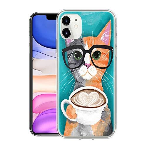 Pnakqil Hülle Kompatibel mit Samsung Galaxy A21s, Weiche Silikon Transparent TPU Ultradünne Case mit Schön Muster Schutzhülle Stoßfeste Kratzfeste Cover Handyhülle für Galaxy A21s, Katze und Kaffee