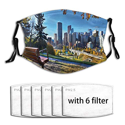 WINCAN Face Cover City Autumn Park in Calgary Print Balaclava Unisex Reusable Windproof Anti-Dust Mouth Bandanas Neck Gaiter with 6 Filters