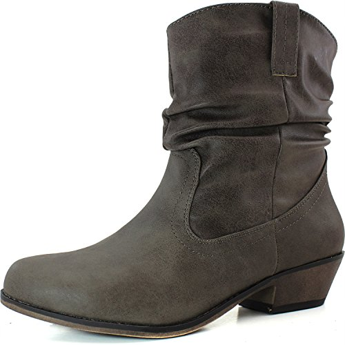 Qupid Women's Fashion Shoes Cowboy Riding Stacked Low Heel Ruched Western Booties Taupe Leatherette Color High Heel Oil Finish Boots, 5.5