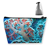Red Caral Tree Multi-Functional Trapezoidal Storage Bag Toiletry Bag Zipper Receive Bag