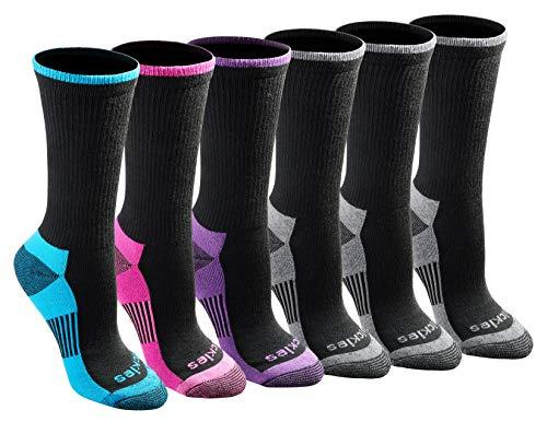 Dickies Women's Dritech Advanced Moisture Wicking Crew Sock (6/12 Packs), Black Fashion (6 Pair), Shoe Size: 6-9