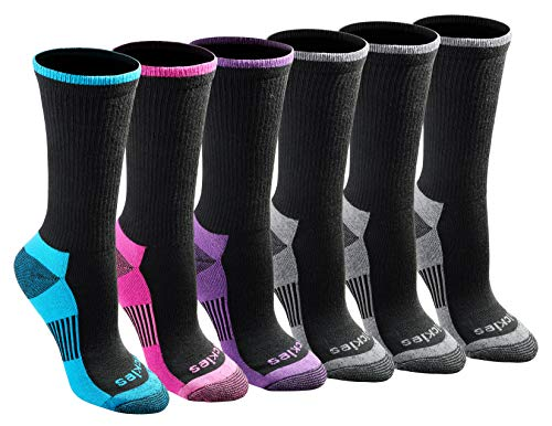 Dickies Women's Dritech Advanced Moisture Wicking Crew Sock (6/12 Packs), Black Fashion (6 Pair), Shoe Size: 6-9