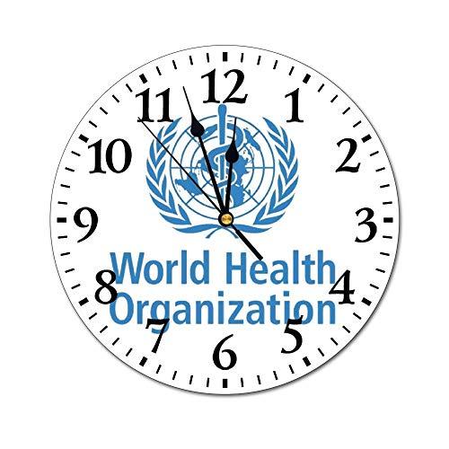 世界保健機関 ウォールクロック 壁掛け時計 アナログ クロック インテリア 円形 サイレント ノベルティ 印刷 掛置兼用 連続秒針 家 寝室 居間 食堂 浴室 台所用 直径25cm 部屋装飾