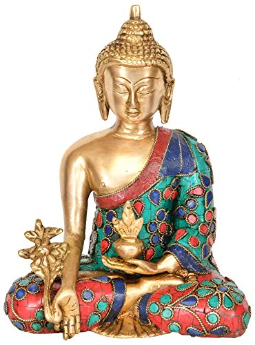 The Medicine Buddha - Brass Statue with Inlay