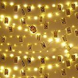 Clip Cadena de Luces LED 10m 100 Led Colgar Fotos de Luces 60 Pinzas Para Fotos Fotoclips Guirnalda de Luces Pinzas con Luz para Colgar Fotos Por colgar fotos notas Memos y de arte Bodas Cumpleaño