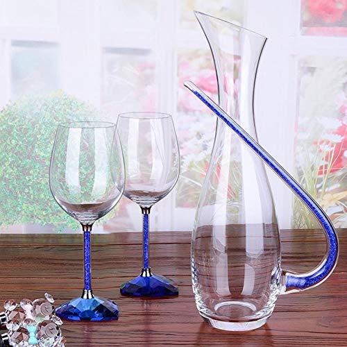 Pakopjxnx Transparent wine glass wedding home decoration wine glass heart-shaped champagne glass water glass cup,Blue set