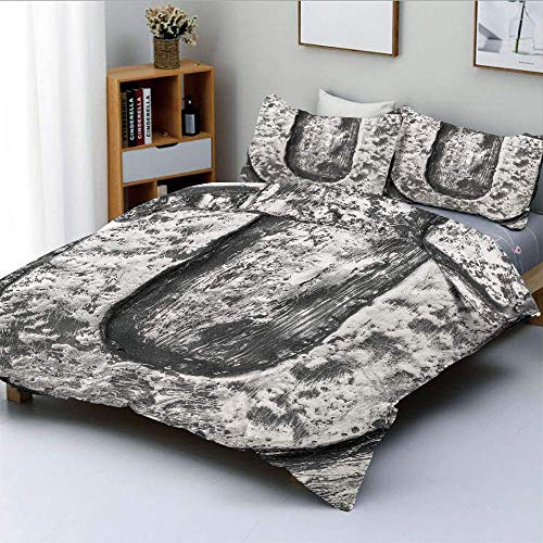 Duvet Cover Set,Uppercase U Character in Grey Tones Retro Sign Coin Style Industrial BackgroundDecorative 3 Piece Bedding Set with 2 Pillow Sham,Black Grey,Best Gift For Kids & Easy Care Ant