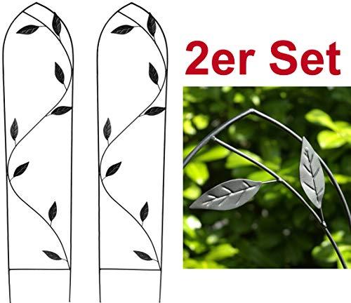 GeKi Trend 2er Set Rankhilfe Rankgitter Eisen Metall schwarz 21 x 102 cm groß Blätter