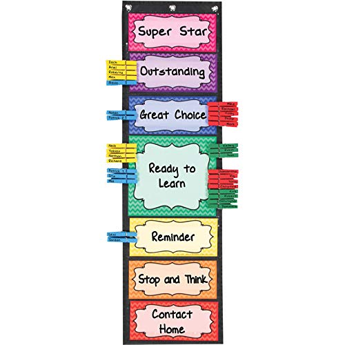 Really Good Stuff Classroom Behavior EZ-Tuck Clip 'N' Track Pocket Chart and Clothespins – Track Student Actions Easily Each Day