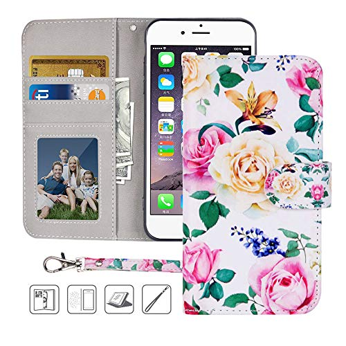 iPhone 6S Wallet Case,iPhone 6 Wallet Case,MagicSky Premium PU Leather Flip Folio Case Cover with Wrist Strap,Card Slots,Cash Pocket,Kickstand for Apple iPhone 6S/iPhone 6 4.7 inch (Flower)