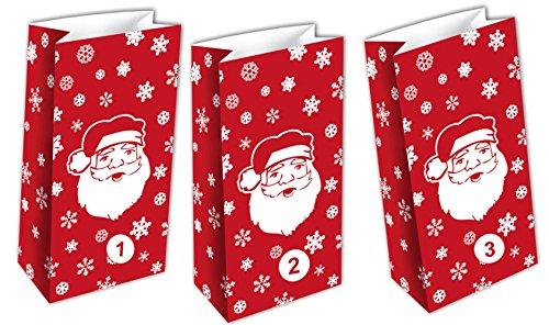 SSITG Lot de 24 sachets cadeaux rouges de l'Avent
