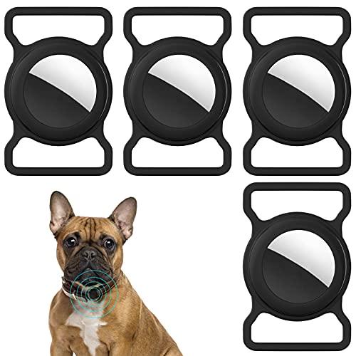 TOCYORIC Funda Protectora de Silicona para Apple Airtag, Accesorios Ajustables de Seguimiento GPS Antipérdida para Collar de Mascotas, 4 Unidades, Negro