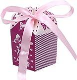 Kleenes Traumhandel 30 Geschenkboxen - Gastgeschenk zur Taufe & Geburt & Hochzeit - 8x6x6 cm (Lila)