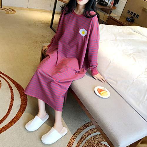 AYDQC Ropa de Dormir de Las Mujeres Raya Fruit Print Nightdress for Lady Homewear Summer Poed Plus Long Long Long Manga Moda Ropa Femenina (Color : A, Size : X-Large)