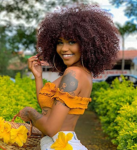CurlCoo Short Curly Afro Wigs With Bangs for Black Women Kinky Curly Hair Wig Afro Synthetic Heat Resistant Full Wigs 14 Inch(Mixed Brown)
