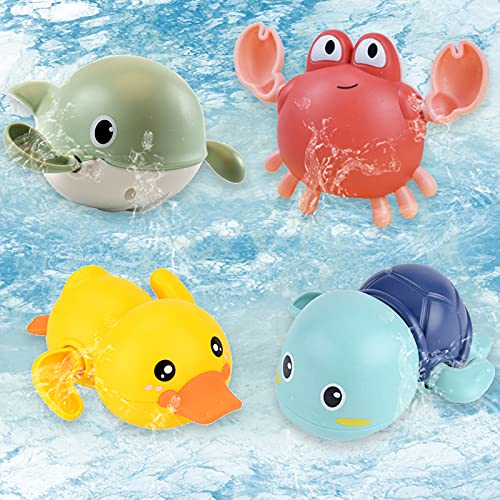 BOYATONG Baby Badespielzeug,Baby Badewanne Spielzeug,Baby Schwimmen Bade Pool Spielzeug,Uhrwerk Schildkröte,Krabbe,Wal,Ente Schwimmbad Spielzeug Für Kleinkinder Jungen Mädchen(4 Stück)