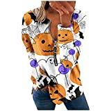 Halloween Zip Up Tops For Women Funny Black Cat Ghost Skeleton Pumpkin Spider Web Printed Long Sleeve Sweatshirt Fall Retro Sexy Slim Soft Comfy Party Club Outdoor Shirts Blouse Pullover(White,XX-Large)
