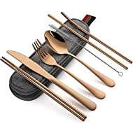 Devico Portable Utensils, Travel Camping Cutlery Set, 8-Piece including Knife Fork Spoon Chopsticks Cleaning Brush Straws Portable Case, Stainless Steel Flatware set (8-piece Rose gold)