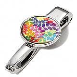 Handtaschenclip und -halter mit Dekor - #BGH03-A084 - Metall - glänzend - Motiv: 'COLOURFUL LEAVES'...