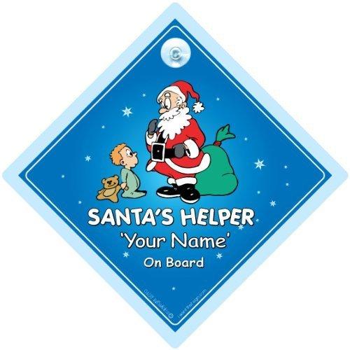 Santas Little Helper sur planche, personnalisé, Baby on Board signe de voiture personnalisée, Ajouter Votre Nom, panneau de Noël Baby on Board, Bébéà Bord, Panneau Bébé Noël, Noël, panneau bébé