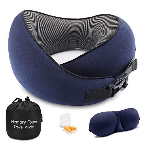 Cuscino da Viaggio Memory Foam, Cuscino Cervicale da Viaggio con Supporto 360°, Cuscino...