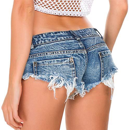 Xpuing Damen Denim Cowboy Shorts geschredderte Hosen Niedrige Taille Höschen (XL)