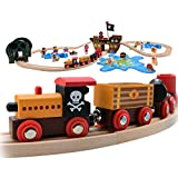 Pidoko Kids Pirate Theme Wooden Train Set - 72 Pcs - Includes Magnet Fishing Poles - Set compatible with all major brand tracks and trains
