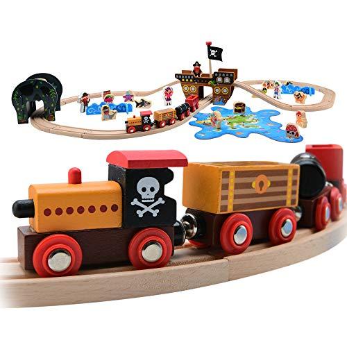 Kids Pirate Theme Wooden Train Set