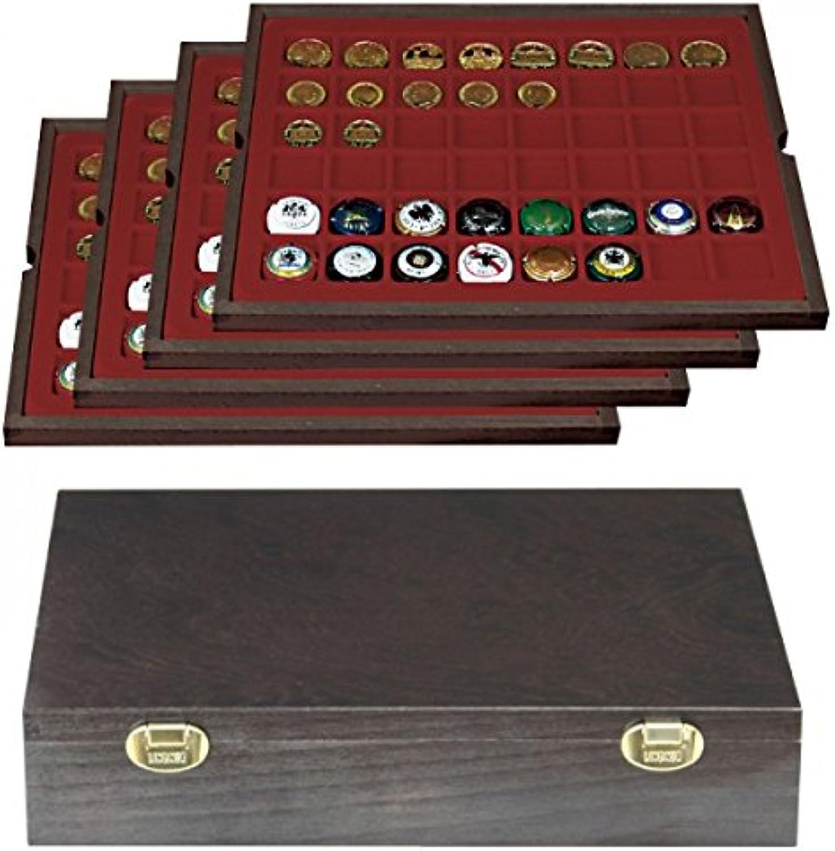 Echtholz Münzkassette mit 4 Tableaus für 192 Münzen bis 30mm  [LINDNER]