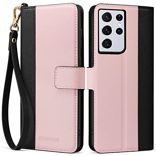 Pinzoveno Hülle für Samsung Galaxy S21 Ultra Handyhülle, Premium PU Leder Schutzhülle Abdeckung Tasche Flip Hülle Brieftasche Etui Schutzhülle für Galaxy S21 Ultra 5G (6,8 Zoll) Rosa