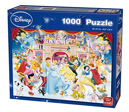King 5180 Disney 1000 Teile Puzzle Holiday on Ice, Blau Karton