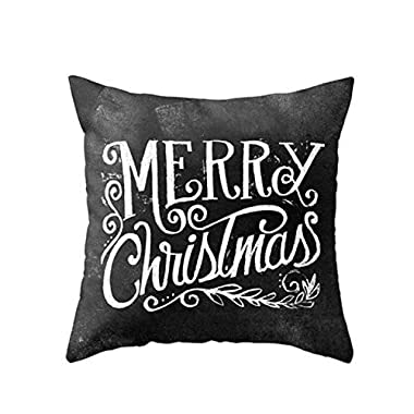 Merry Christmas Cushion Cover Case Pillow Custom Zippered Square Pillowcase 18x18 (one side)