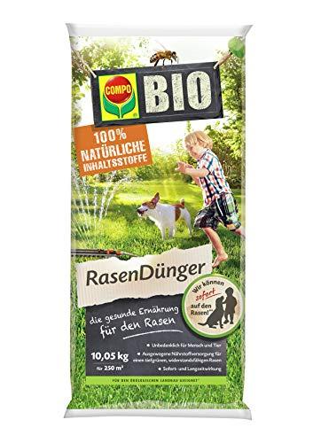 Compo BIO NaturDünger für Rasen, Natürliche Sofort- und Langzeitwirkung, Feingranulat, 10,05 kg, 250 m²