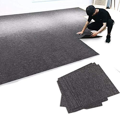 "MYOYAY Commercial Carpet Tiles, 20""x 20"" Carpet Floor Tiles with Anti-Slip PVC Back, Non Slip Square Carpet Tiles for Residential & Commercial Flooring Use(28 Pieces, Dark Grey)"