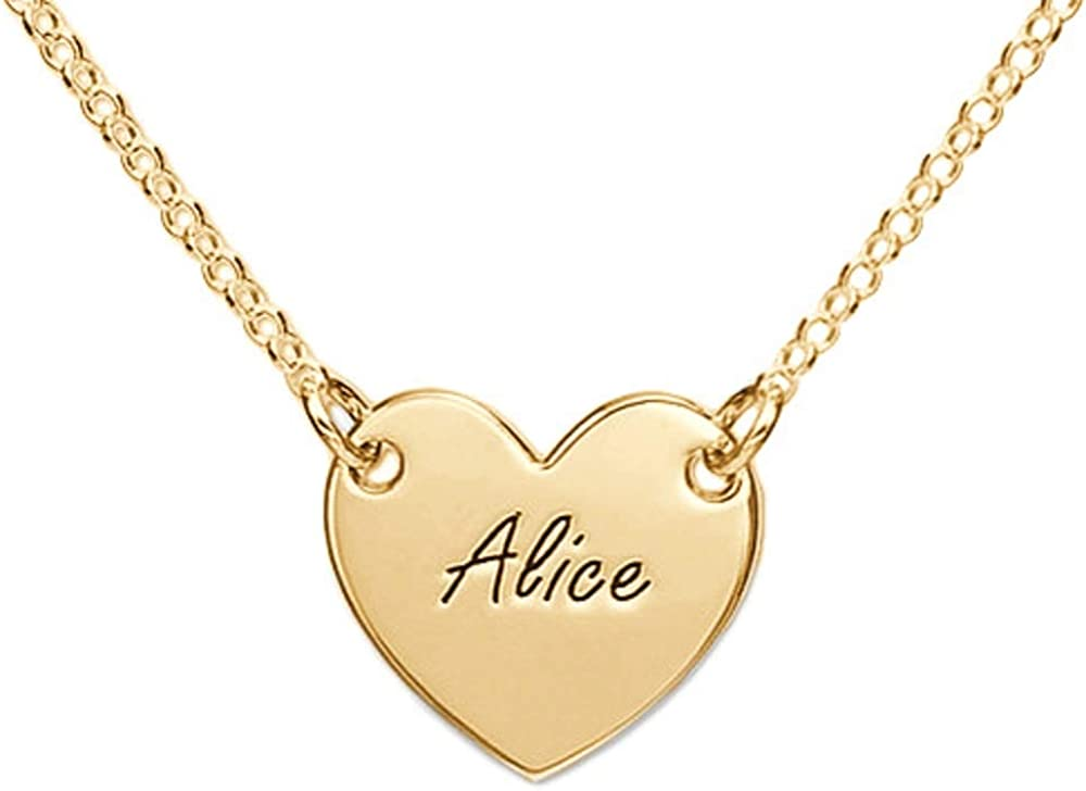MyNameNecklace Personalized Engraved Heart Necklace for Woman - Precious Metals Custom Name Jewelry Valentine's Day Gift for Her