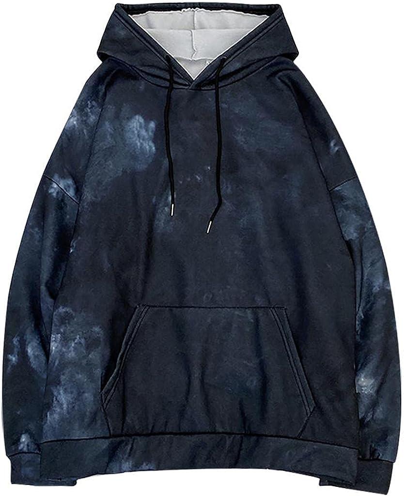 Fudule Cute Hoodies for Teen Girls 2021 Trendy Tie Dye Sweatshirt with Drawstring Long Sleeve Shirts Lightweight Blouses
