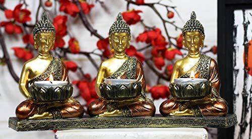 Ebros Trikaya Three Meditating Dipankara Shakyamuni Maitreya Buddhas with Ushnisha Votive Tea Light Candles Holder Statue 10.75' L Buddhism Bodhisattva Feng Shui Zen Buddha Candle Holders Figurine