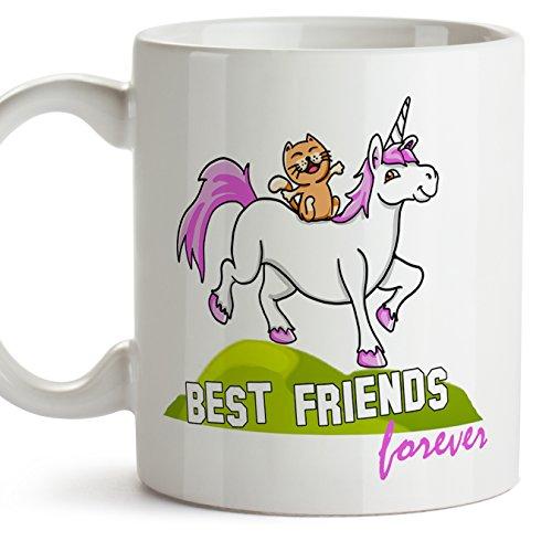 MUGFFINS Best Friends Ever Mug - Taza de los Mejores Amigos de la Historia - Taza de café como Regalo para los Amigos - Cat & Unicorn Cup - Ceramic 350ml / 11oz (en inglés)